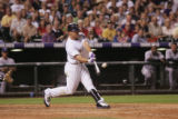 Matt Holliday (cq) hits a grand slam during the Colorado Rockies versus the Florida Marlins game...