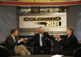 Colorado 2031 show host Ron Zappolo (cq) breaks the debate off at the end of a taped show with the...