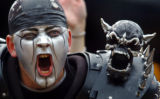 "(DENVER, Co., SHOT 10/17/2004) Oakland Raiders' fan Shea Ohlott, also known as ""Skulls"",..."