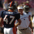 (Tampa, Fla., on Sun. Oct. 3, 2004)   Tampa Bay Buccaneers head coach John Gruden, right, shakes...
