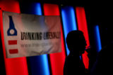 Aaron Silverstein talks with friends at Drinking Liberally, a nationwide organization that brings...