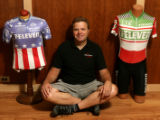 Ron Kiefel (cq), with a jersey he wore in the Coors classic, right and one he wore in the Tour de...