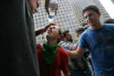 JOE2293 After a confrontation with police confront a group of protestors were  sprayed with a...