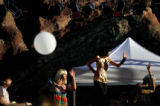 (PG7178) Tilly and the Wall performs (as a balloon floats by) at the Monolith Music Festival at...