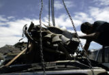 Mario Cabrera (cq), from Denver, uses an engine hoist to pull a transmission out of a Ford at...