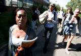Meheret Ashagre, on left , walks between classes at Metro State College in Denver Tuesday...