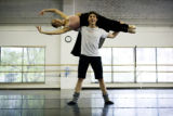 Christopher Ellis (cq) holds Sharon Wehner (cq) above his head during a Colorado Ballet practice...