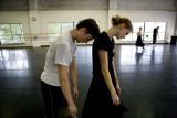 Christopher Ellis (cq) leans his head against Janelle Cooke (cq)during Colorado Ballet practice of...