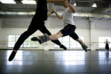Christopher Ellis (cq) (white) and Shunsuke Amma (cq) artists of Colorado Ballet practice ...
