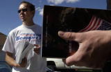 (AURORA Colo., October 3, 2004) Mark Eisbrenner holds a stack of voter registration forms as he...