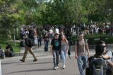 Students walk through campus at Metropolitan State College of Denver on Wednesday afternoon,...