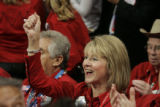 Colorado delegate Sue Sharkey cheers the Governor of Minnesota on the final day of the Republican...