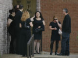 Family and friends gather at the funeral services for 3-year-old Marten KudlisA (cq) who was...