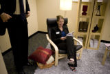 Corri Spiegel (cq) Economic Development Manager of Centennial sits in IKEA's signature POÛNG chair...