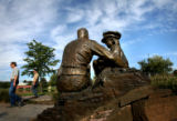 (PG6016) Broomfield Public Works Park employees inspect the 9/11 Memorial in Broomfield, Colo., on...