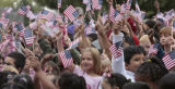 Students wave their American flags, Thursday morning, September 11, 2008, Jewell Elementary...