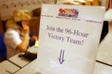 "(Highlands Ranch, Colo., October 19, 2004) ""Join the 96-Hour Victory Team!"" sign sits on..."