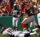 JOE0813 Denver Broncos Kansas City Chiefs Derrick Johnson returns an intercepted pass intended for...