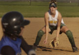 (HIGHLANDS RANCH, Colo., October 8, 2004) Mountain Vista's #2, 3rd base player, Sara Wichter,...