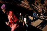 (PG7447) Fans climb the stairs at the Monolith Music Festival at Red Rocks in Morrison, Colo., on...