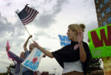 (10/05/2004) Englewood-Bush supporters Betsy Bruch, from left, Littleton, Emily Bredehoeft,...