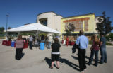 Press conference held under tent in parking lot at Flatirons Crossing in Broomfield where Macerich...