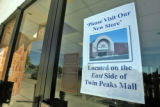 Dillard's sign for store relocation to East side of the Twin Peaks Mall in Longmont Tuesday...
