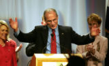 Republican candidate for Governor Bob Beauprez acknowledges the applause of the crowd while...