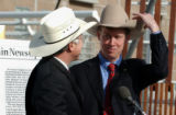 (DENVER, Colo., October 20, 2004)  Denver Mayor John Hickenlooper pokes fun of Ken Salazar by...