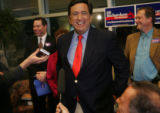 New Mexico Governor Bill Richardson conducts a press conference at Signature Flight Support at...