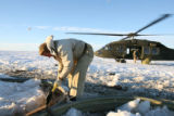 The Colorado Air National Guard made air drops of hay to stranded cattle in extreme southeast...