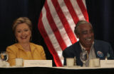 Hillary Clinton has a laugh with New York U.S. Congressman, Charles B. Rangel, right, Monday...