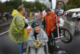 (at center) 71 year-old Virginia Vinyard (cq) gets comfortable on her wheel chair after winning...