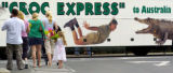 BWH810 - Visitors arrive to deliver flowers to Australia Zoo Tuesday, Sept. 5, 2006 at Beerwah,...