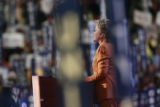 Former Democratic Presidential rival to Barack Obama, Senator Hillary Clinton, addresses the...