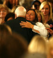 Republican presidential candidate Senator John McCain (R-AZ) is embraced by a supporter after...