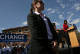 Michelle Obama addressed a crowd of supporters at the University of Colorado's Farrand Field while...