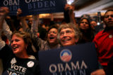 Veronica Kane and Anna Jo Haynes react to Obama's election during the Democratic party at the...