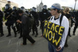 Protesters take to the streets of St. Paul on the final day of the 2008 Republican National...
