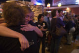 (265) A Broomfield Field Organizer for the Obama Campaign Amy Keegan, 23, hugs a friend at an...