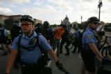 Protesters in St. Paul faced off with riot police during the last day of the 2008 Republican...