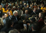 Democratic vice presidential candidate Joe Biden (D-DE) addressed supporters at a campaign stop in...
