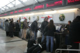 Passengers of Continental Airlines check in for outgoing flights at Denver International Airport...