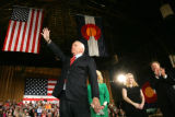 Republican presidential candidate Senator John McCain speaks at the National Western Complex in...