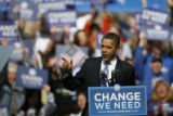 DM2742  Democratic presidential candidate Barack Obama speaks to a crowd of thousands at Civic...