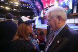 Former Colorado Gov. Roy Romer, right, points at a Colorado delegate while talking to Westminster...