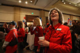 Krista Huff (cq) from Douglas county, CO looks over at the latest election results at the GOP...