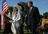 SH04I262MUSEUM Washington, Sept. 21, 2004 - Sen Ben Nighthorse Campbell (R-Colo.), left, and ...