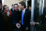 Democratic Presidential candidate John Edwards leaves a rally for his supporters on the day of the...