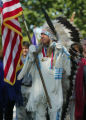 SH04I263MUSEUM Washington, Sept. 21, 2004 - Sen Ben Nighthorse Campbell (R-Colo.) leads the Native...